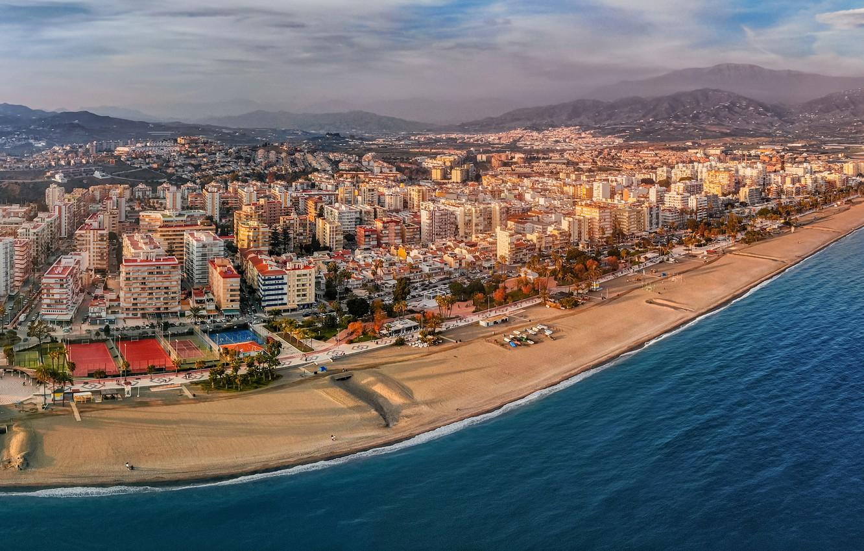 Photo wallpaper sea, beach, mountains, coast, building, home, panorama, Spain, Spain, Andalusia, The Mediterranean sea, Andalusia, Mediterranean …