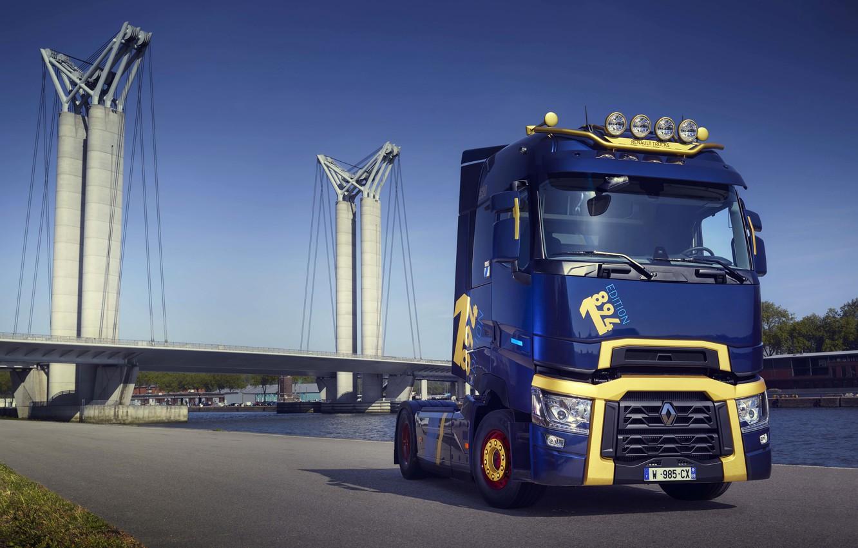 Photo wallpaper Renault, on the shore, tractor, 4x2, dark blue, 2019, Renault Trucks, T-series, 520 HP, T …