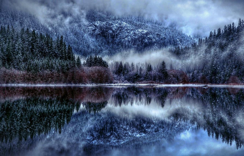 Photo wallpaper Nature, Winter, Landscape, Lake, Trees