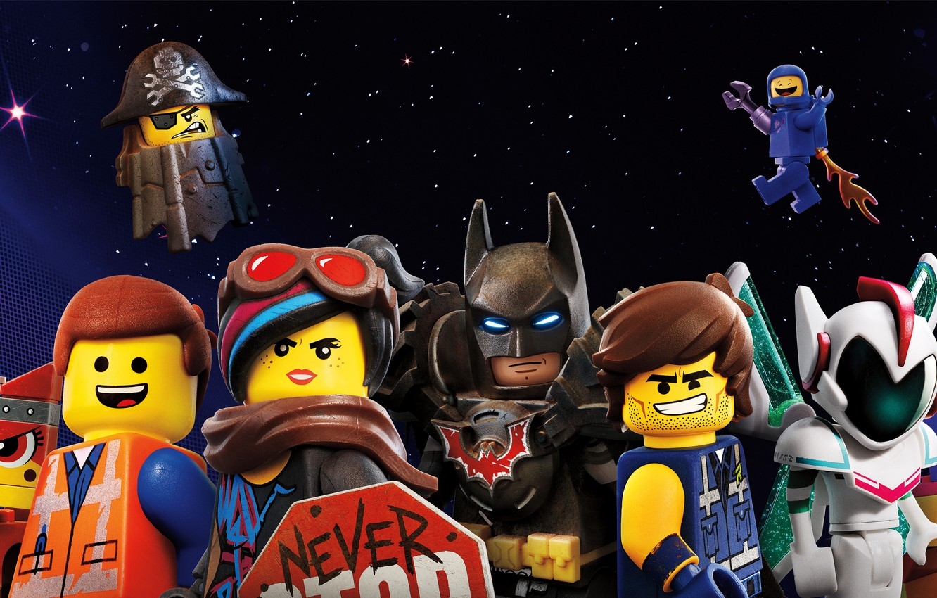 Photo wallpaper the sky, background, fiction, cartoon, stars, poster, characters, The Lego Movie 2: The Second Part, ...