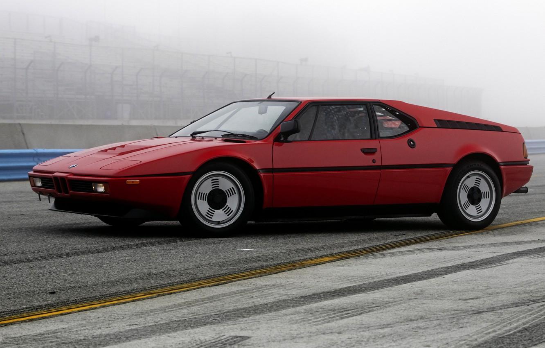 Photo wallpaper red, fog, BMW, BMW M1, E26, M1