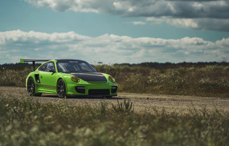 Photo wallpaper Porsche, Green, GT2