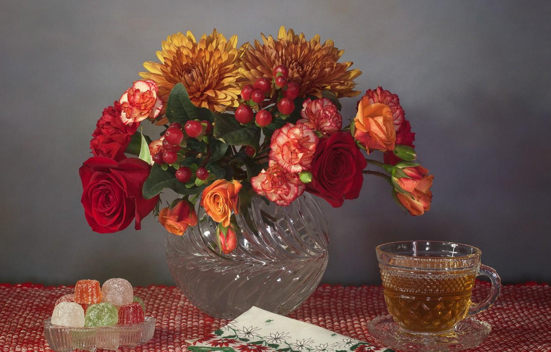 Photo wallpaper flowers, style, tea, roses, bouquet, mug, still life, chrysanthemum, napkin, marmalade, clove