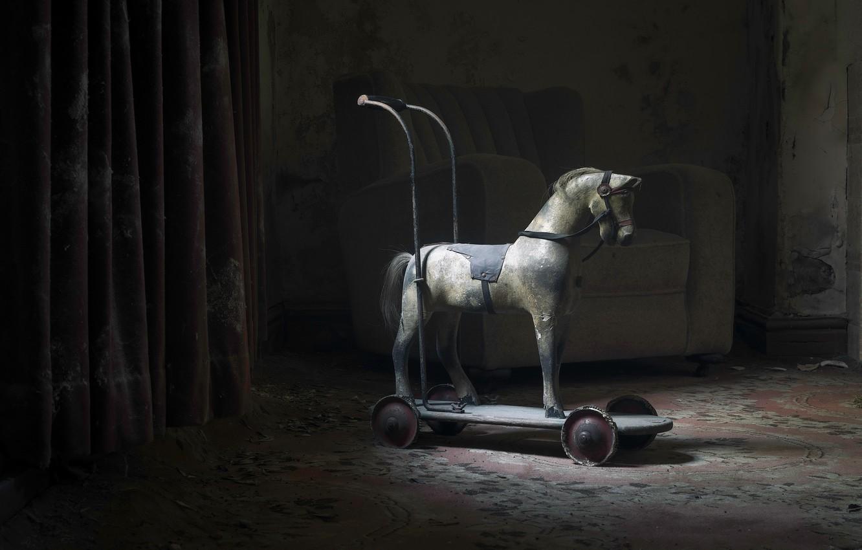 Photo wallpaper room, horse, stroller