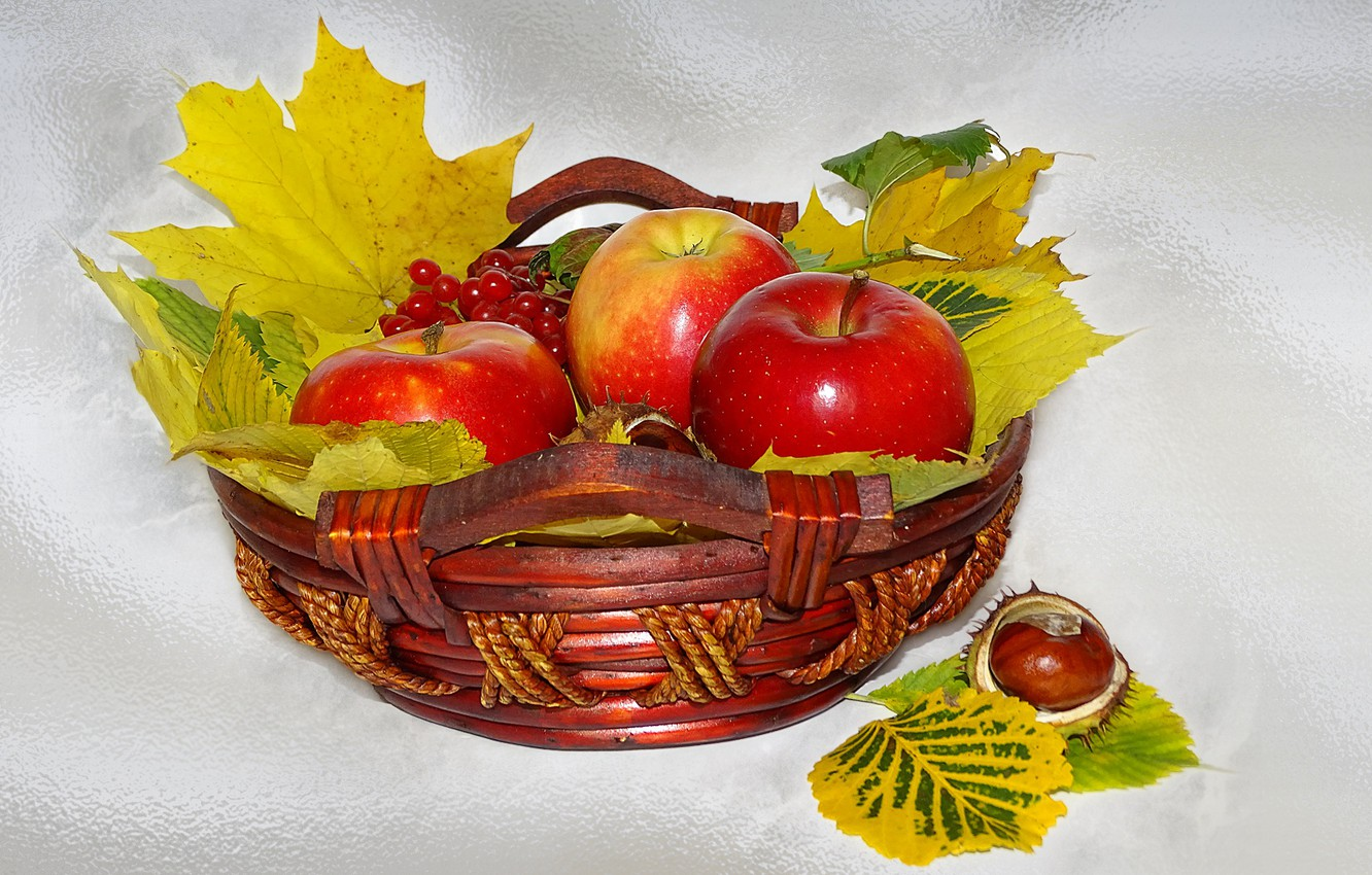 Photo wallpaper nature, mood, apples, beauty, basket, beautiful, beautiful, beauty, harmony, the Wallpapers, cool, bouquet, nice, elegantly, ...