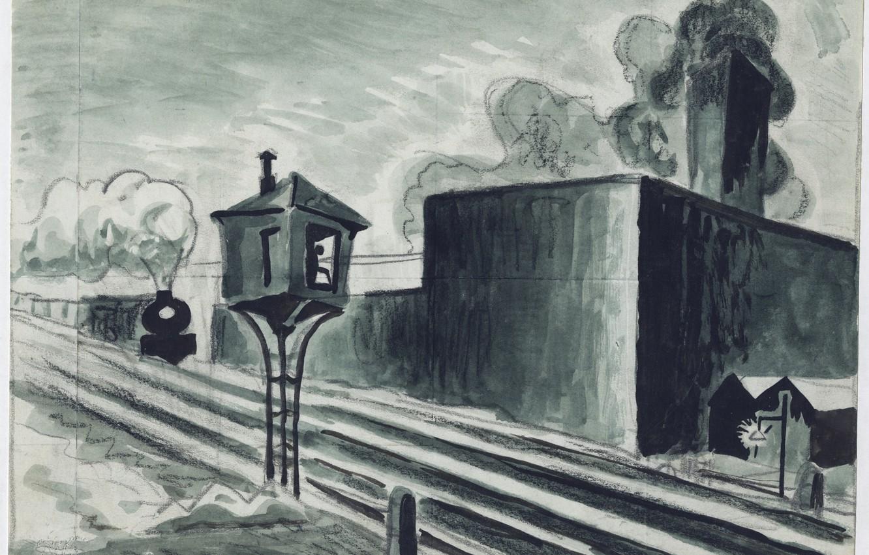 Photo wallpaper 1920, Charles Ephraim Burchfield, Study for Gates Down