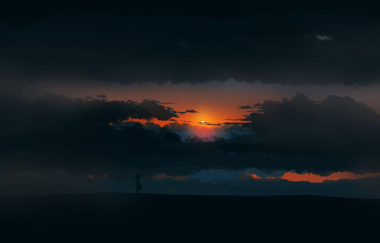 Photo wallpaper girl, twilight, sky, landscape, Sunset, art, figure, clouds, sun, alone, mood, digital art, artwork, environment, …