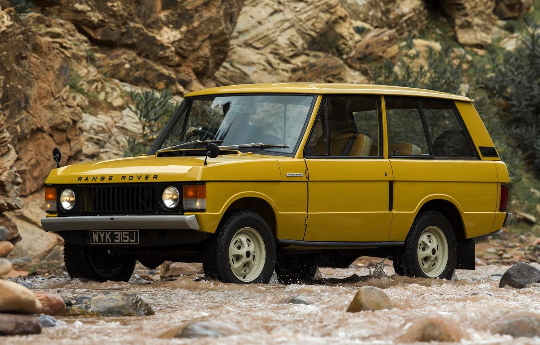 Photo wallpaper yellow, rocks, Land Rover, Range Rover, 1970, 4x4, SUV, three-door