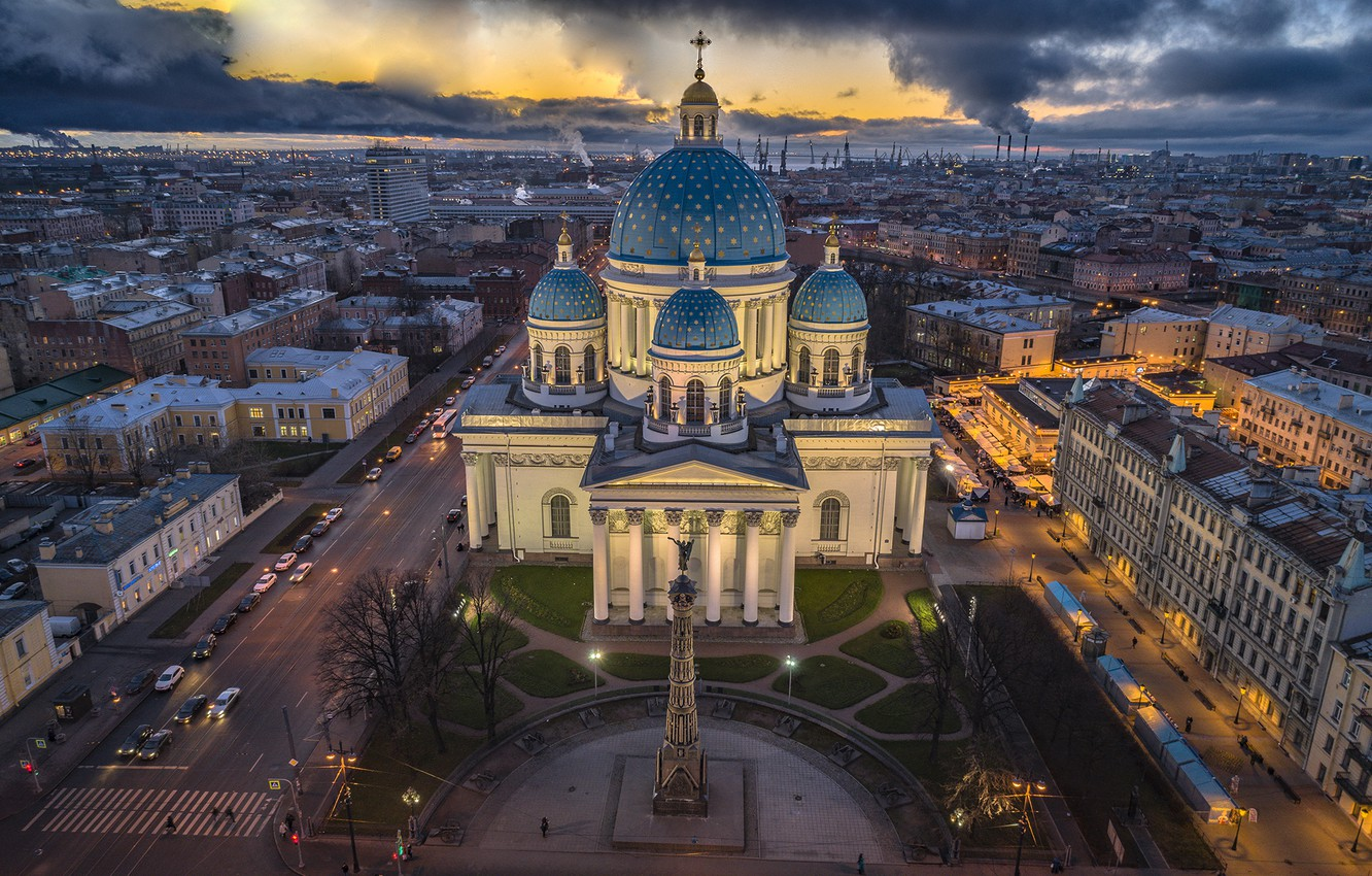 Photo wallpaper the city, home, the evening, Peter, Saint Petersburg, architecture, street, Trinity-Izmailovsky Cathedral, Izmailovsky Cathedral