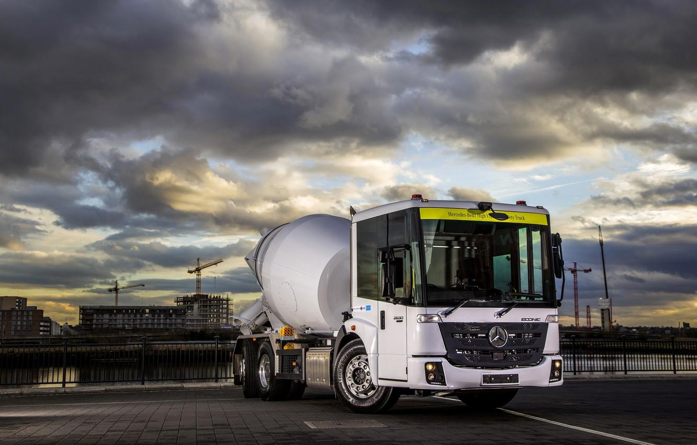 Photo wallpaper white, Mercedes-Benz, truck, triaxial, concrete mixer, Econic
