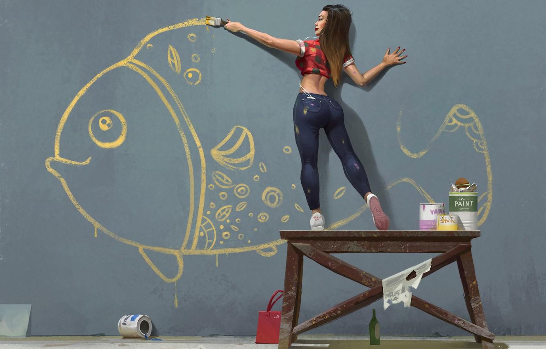 Photo wallpaper mood, figure, fish, art, Nikolai Litvinenko, Gold fish. One summer day.