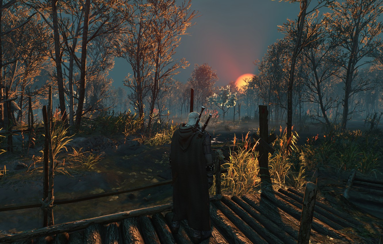 Photo wallpaper Sunset, Landscape, Swords, The Witcher 3 Wild Hunt, Geralt