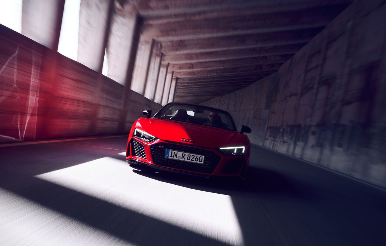 Photo wallpaper red, the tunnel, Audi R8