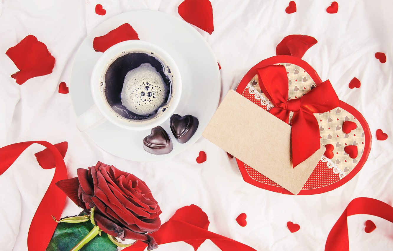 Photo wallpaper flowers, gift, roses, bouquet, hearts, red, red, love, flowers, romantic, hearts, chocolate, coffee cup, valentine's …