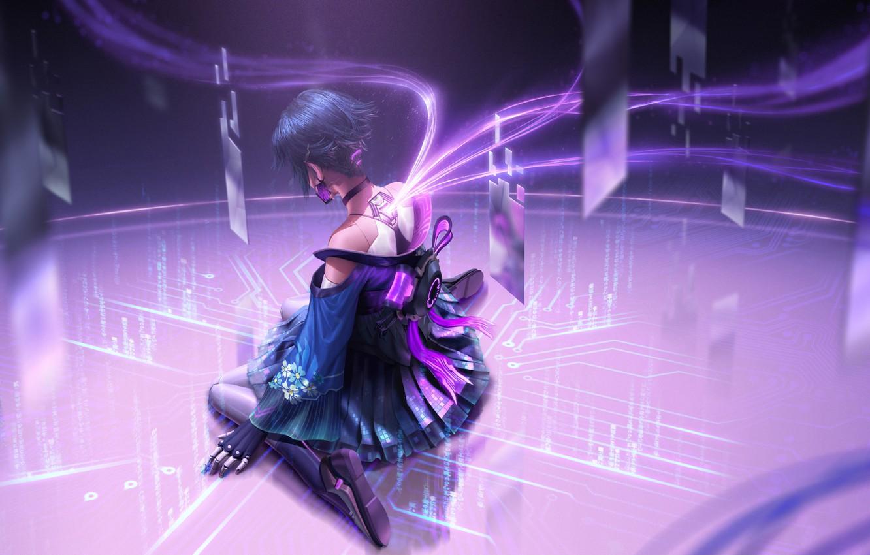 Photo wallpaper fiction, Girl, Pink, Style, girl, games, Cyberpunk, cyber hunter