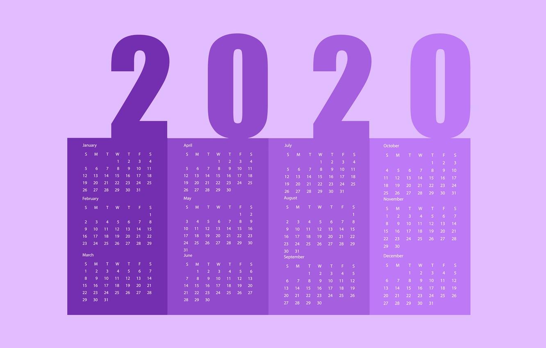 Photo wallpaper New year, calendar, 2020
