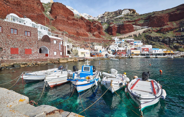Photo wallpaper coast, home, Bay, boats, Santorini, Greece, pier, Santorini, Oia, Greece, Amoudi Bay, Amoudi Bay