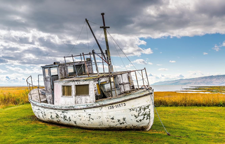 Photo wallpaper background, shore, ship