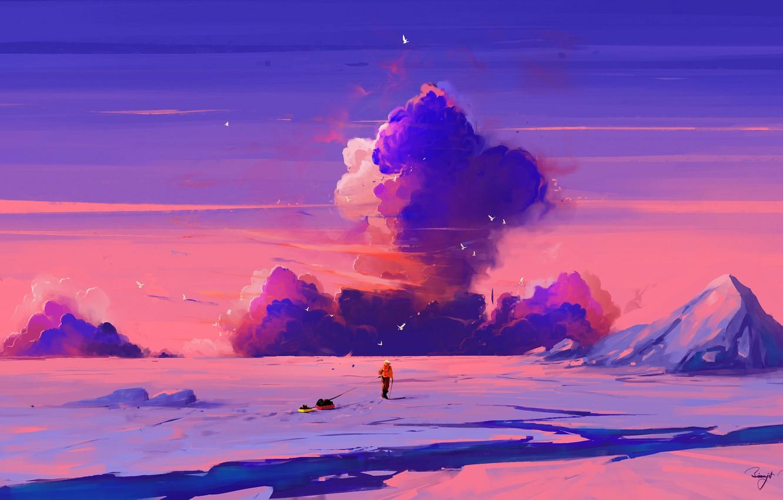 Photo wallpaper sky, sunset, art, clouds, mountain, snow, birds, man, artist, digital art, artwork, cold, sled, BisBiswas