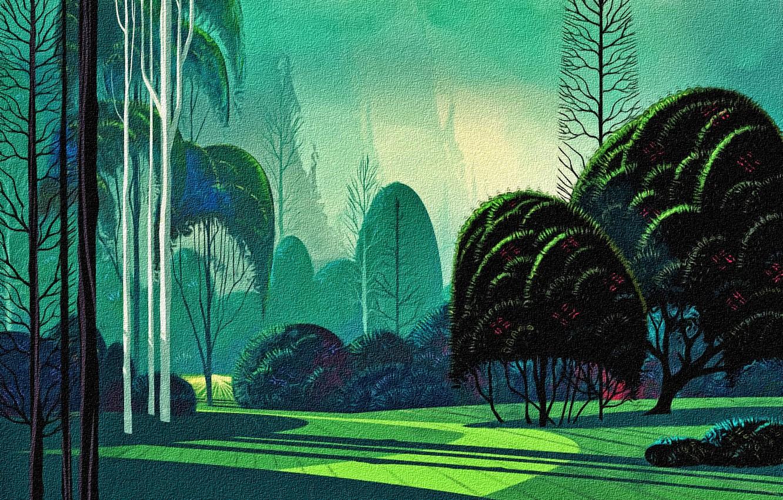 Photo wallpaper trees, rendering, reproduction, canvas, acrylic paint, Landscape Eivind Earle, Garden