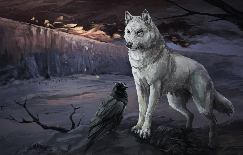 Photo wallpaper winter, white, look, snow, night, branches, pose, bird, wolf, ice, glacier, art, the plot, pair, …