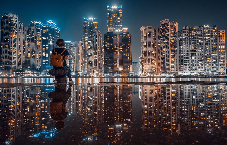 Photo wallpaper girl, night, the city