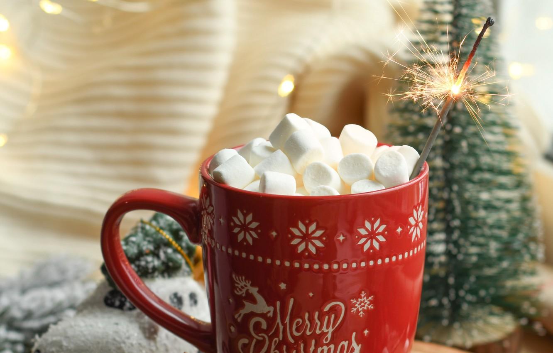 Photo wallpaper Christmas, mug, New year, tree, garland, holidays, Sparkler, marshmallows