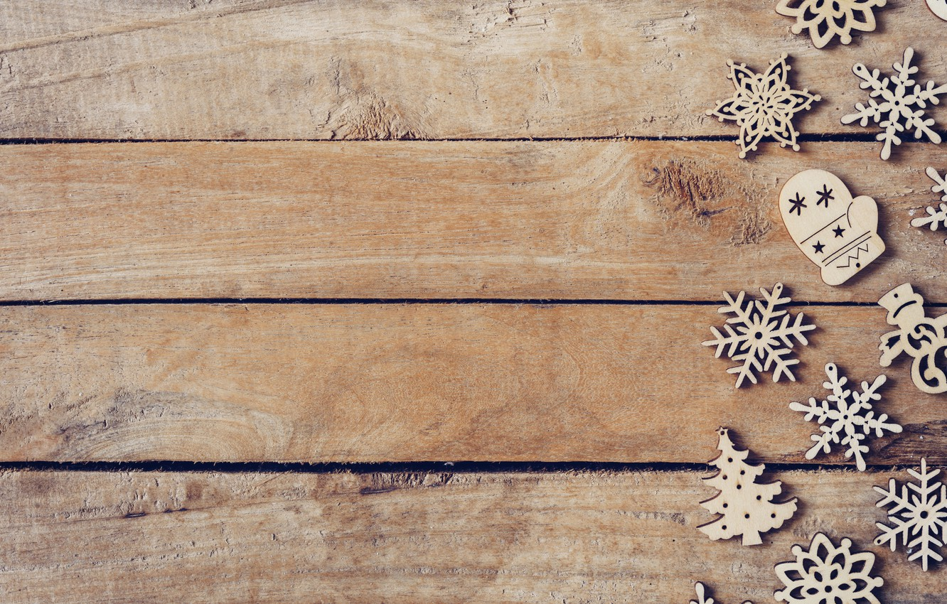 Photo wallpaper winter, snowflakes, tree, Board, New Year, new year, Christmas, wood, winter, background, snowflakes, decoration