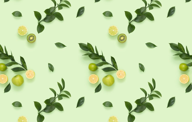 Photo wallpaper leaves, branches, background, kiwi, citrus