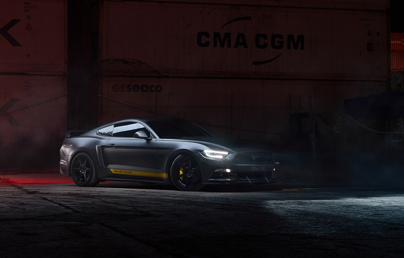Photo wallpaper lights, Ford, Supercharged, Mustang GT, 700hp, 2019, by Dennis Ardel