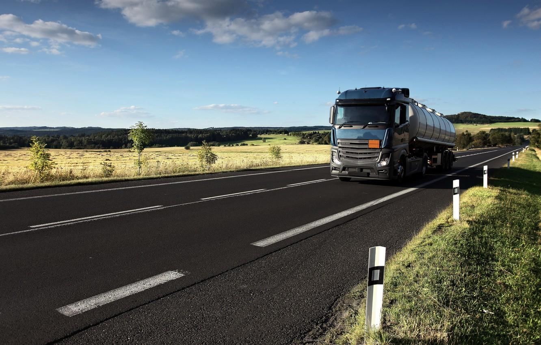 Photo wallpaper road, blue, Mercedes-Benz, tank, tractor, 4x2, the trailer