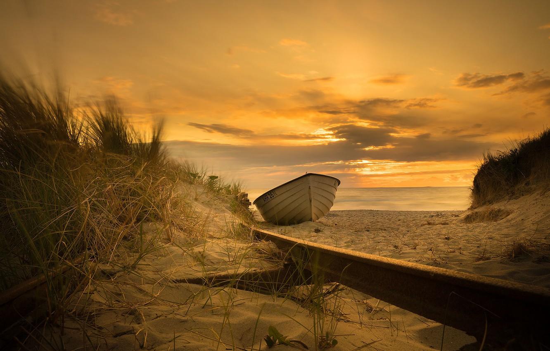 Photo wallpaper sea, sunset, coast, boat, the evening
