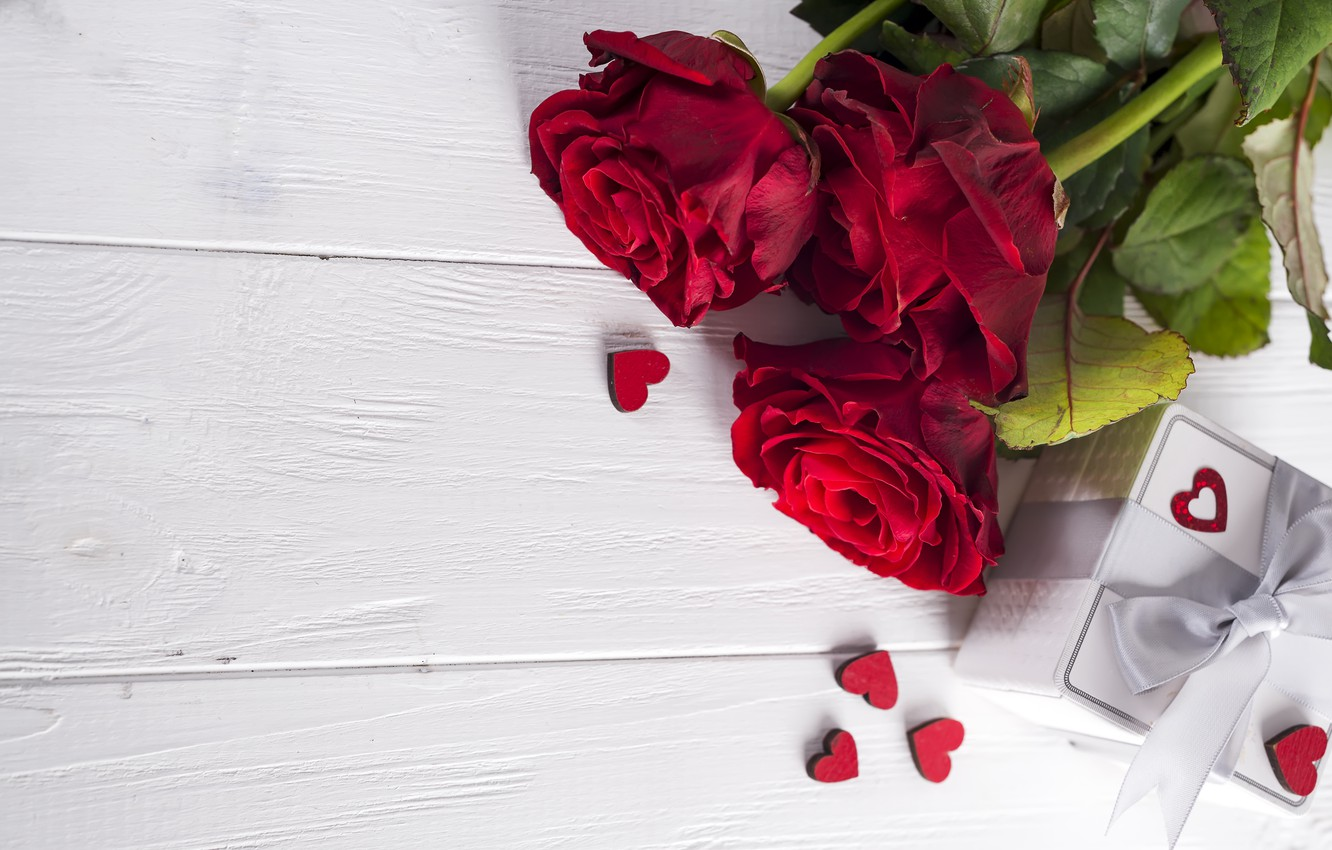 Photo wallpaper flowers, gift, roses, bouquet, hearts, red, red, love, flowers, romantic, hearts, chocolate, valentine's day, roses, …