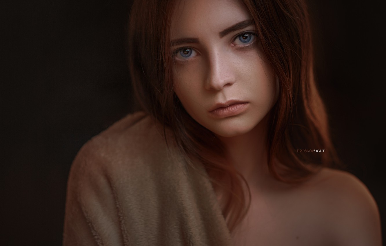 Photo wallpaper look, pose, portrait, Girl, shoulders, Alexander Drobkov-Light, Eva Lapenko