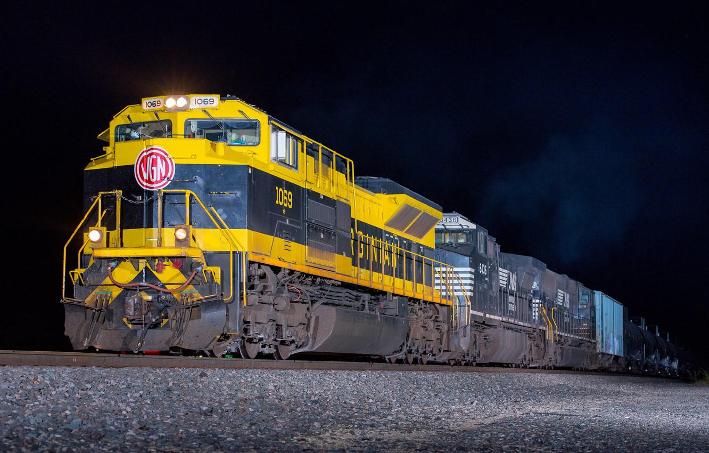 Photo wallpaper night, train, cars