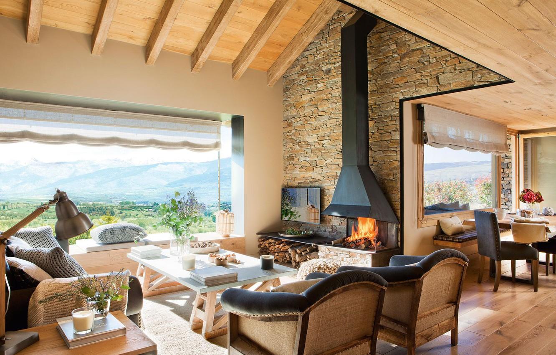 Photo wallpaper Villa, interior, fireplace, living room