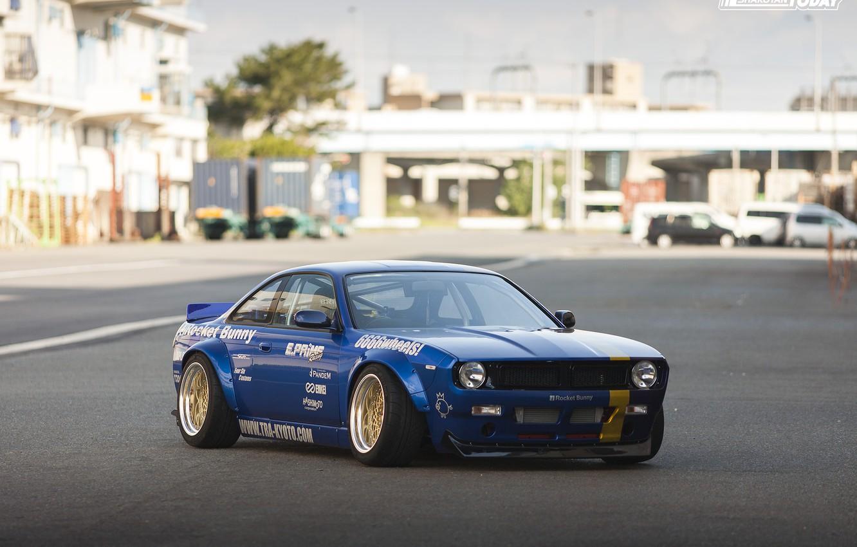 Photo wallpaper car, machine, tuning, Nissan, Nissan, side, tuning, stickers, Nissan Silvia, Rocket Bunny, blue car, Nissan …