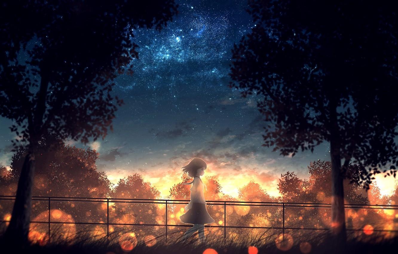 Photo wallpaper grass, trees, fence, Japan, girl, schoolgirl, walk, bokeh, the evening sky, against the sky, starry …