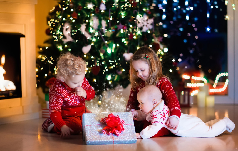 Wallpaper happiness children gift tree New year garland