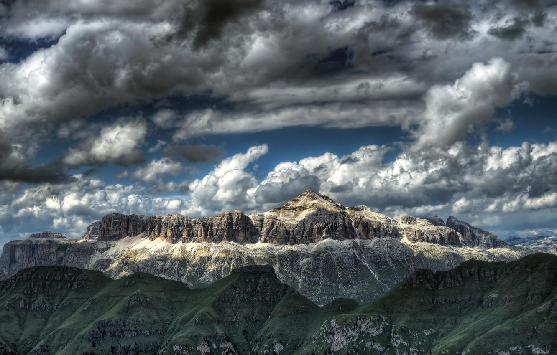 Photo wallpaper the sky, mountains, nature, Italy, Trento, Canazei, Sella Group - Pian dei Fiacconi