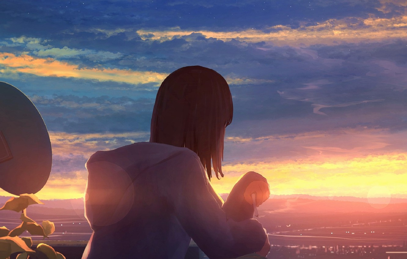 Photo wallpaper the sky, clouds, the city, figure, girl, ma_tochichi