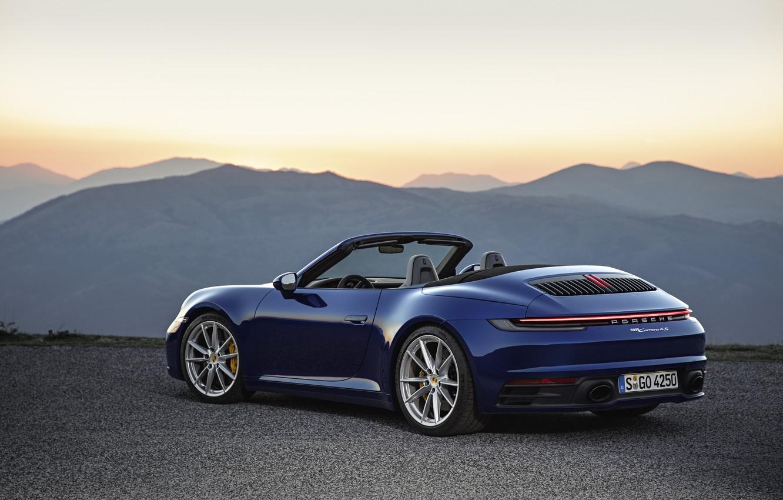 Photo wallpaper blue, 911, Porsche, convertible, Cabriolet, Carrera 4S, 992, hump, 2019