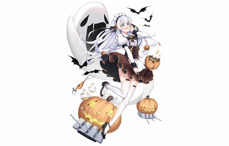 Photo wallpaper girl, sexy, halloween, long hair, anime, beautiful, Edinburgh, attractive, handsome, white hair, Azur Lane