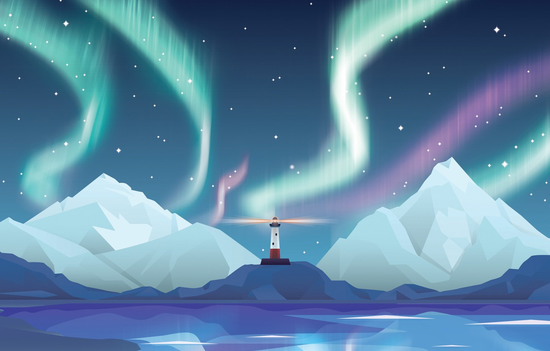 Photo wallpaper stars, mountains, night, lighthouse, Northern lights, abstract, star, design, night, northern lights