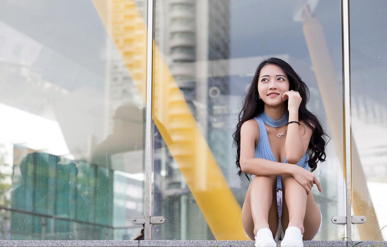 Photo wallpaper girl, background, Asian