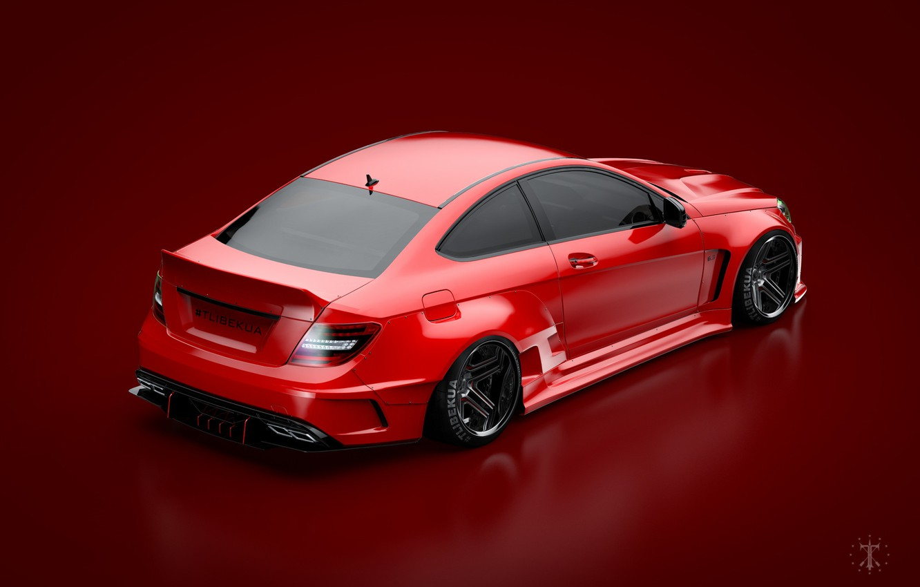 Photo wallpaper Mercedes-Benz, Red, Auto, Mercedes, Car, C63, Widebody, Red background, Transport & Vehicles, November Tlibekov, by …