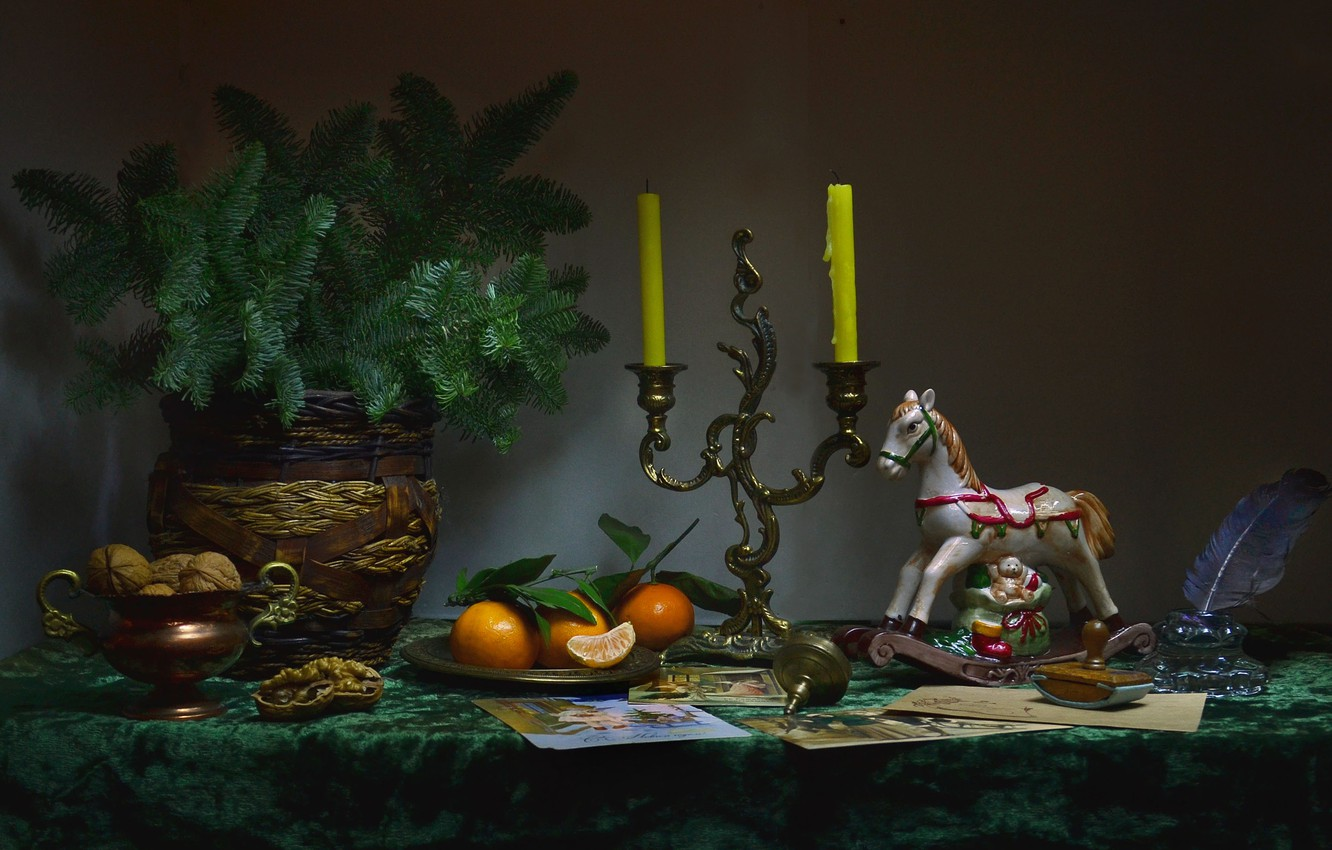 Photo wallpaper photo, branch, candles, vase, nuts, still life, figures