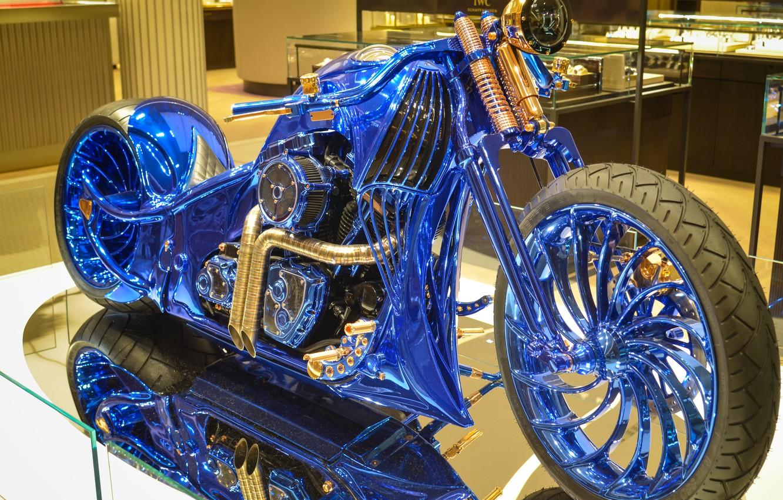Photo wallpaper Harley-Davidson, chopper, Bucherer, Harley-Davidson Blue Edition