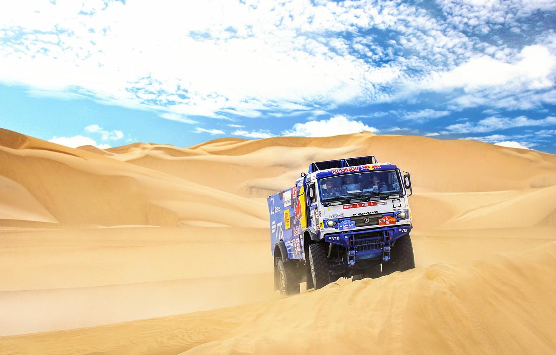 Photo wallpaper Sand, Sport, Machine, Truck, Race, Master, Russia, 500, Kamaz, Rally, Dakar, KAMAZ-master, Dakar, Rally, KAMAZ, …