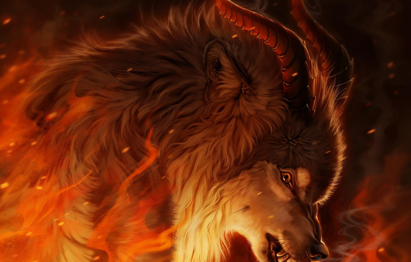 Photo wallpaper fire, wolf, fantasy, Horny, by Pixxus